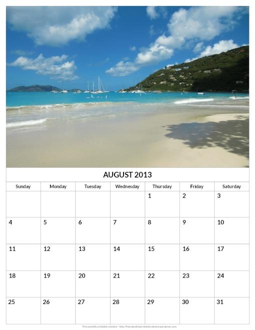 Printable August 2013 calendar beach